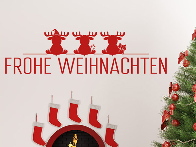 wandtattoo frohe weihnachten 3 elche. Black Bedroom Furniture Sets. Home Design Ideas