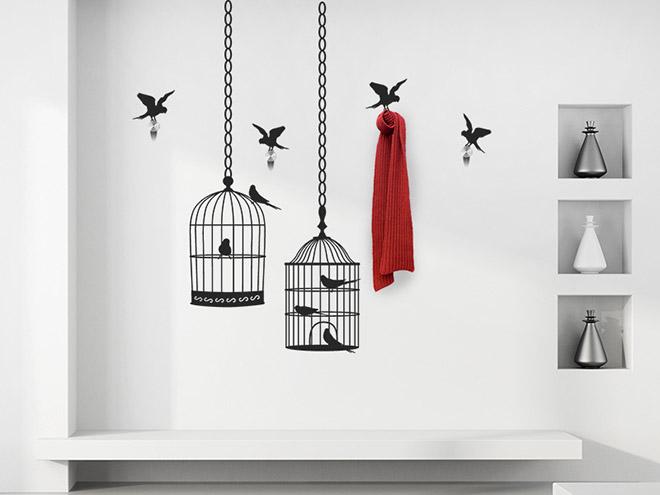 wandtattoo garderobe vogelk fige mit wandhaken. Black Bedroom Furniture Sets. Home Design Ideas