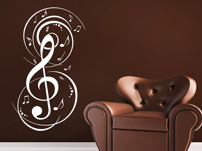 wandtattoo noten musik bei. Black Bedroom Furniture Sets. Home Design Ideas