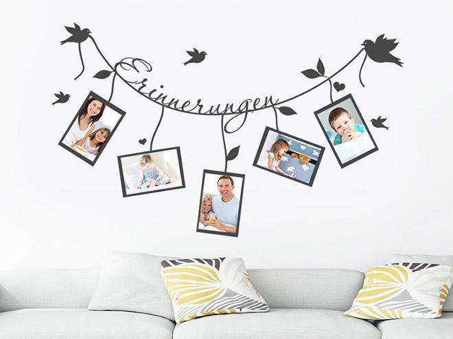 wandtattoo erinnerungen mit 5 fotorahmen. Black Bedroom Furniture Sets. Home Design Ideas