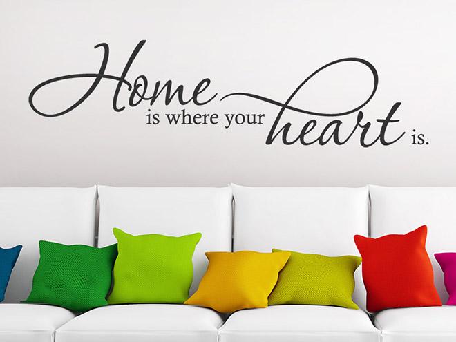 Wandtattoo home is where your heart is liebe - Wandtattoo home ...