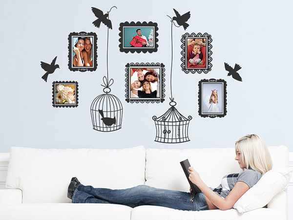 wandtattoo vintage fotorahmen mit vogelk figen. Black Bedroom Furniture Sets. Home Design Ideas