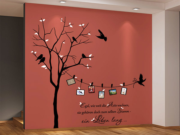 wandtattoo zweifarbiger baum mit fotorahmen und spruch. Black Bedroom Furniture Sets. Home Design Ideas