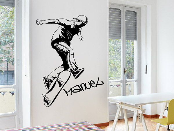 wandtattoo skater mit wunschname. Black Bedroom Furniture Sets. Home Design Ideas