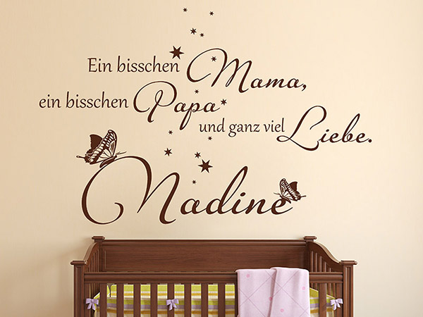 wandtattoo ganz viel liebe mit babyname. Black Bedroom Furniture Sets. Home Design Ideas