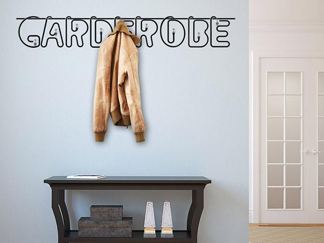 wandtattoo garderobe b roklammern mit wandhaken. Black Bedroom Furniture Sets. Home Design Ideas