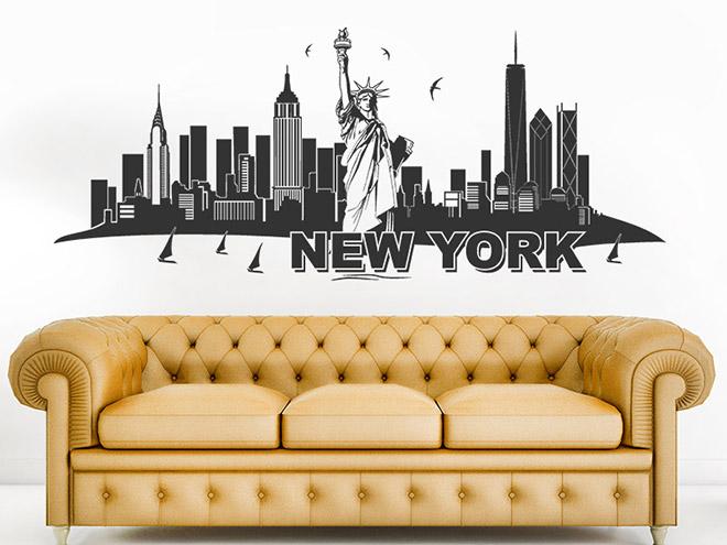 wandtattoo skyline new york mit freiheitstatue. Black Bedroom Furniture Sets. Home Design Ideas