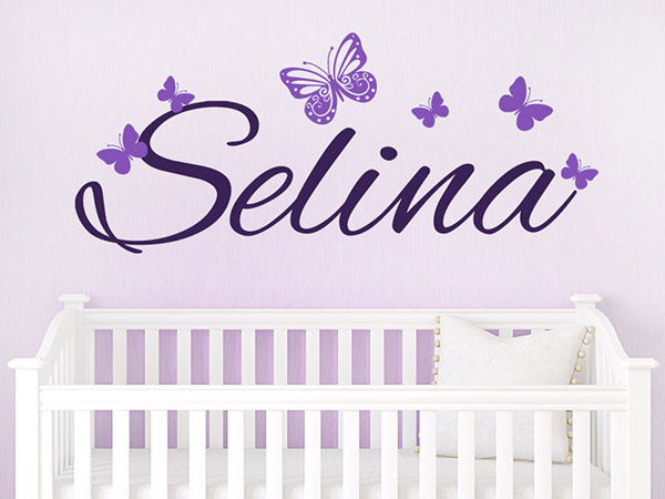 wandtattoo babyname mit schmetterlingen bei. Black Bedroom Furniture Sets. Home Design Ideas