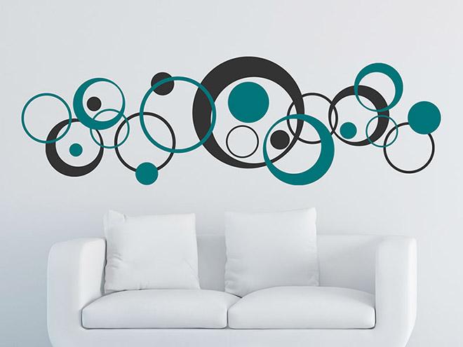 Wandtattoo Retro Kreise Zweifarbig