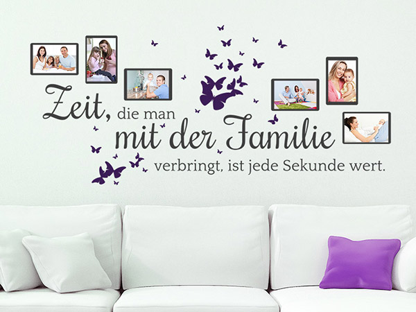 wandtattoo fotorahmen familienzeit mit familienspruch. Black Bedroom Furniture Sets. Home Design Ideas
