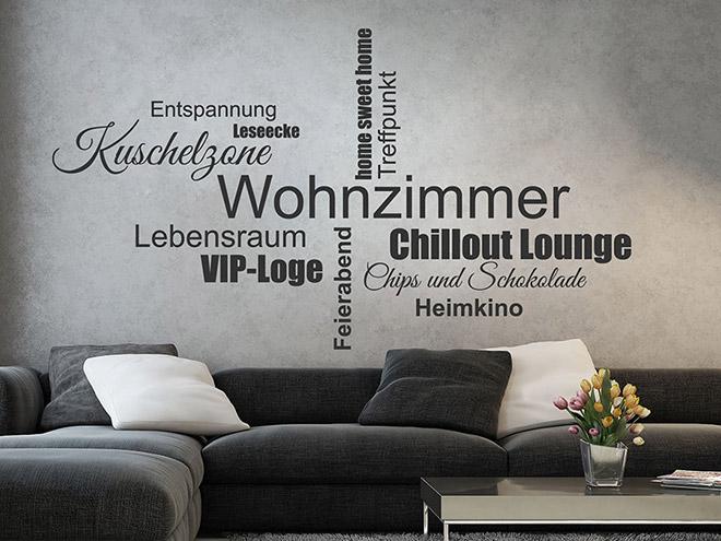 Wandtattoo Wohnzimmer Worte als Wortwolke - Wandtattoos.de
