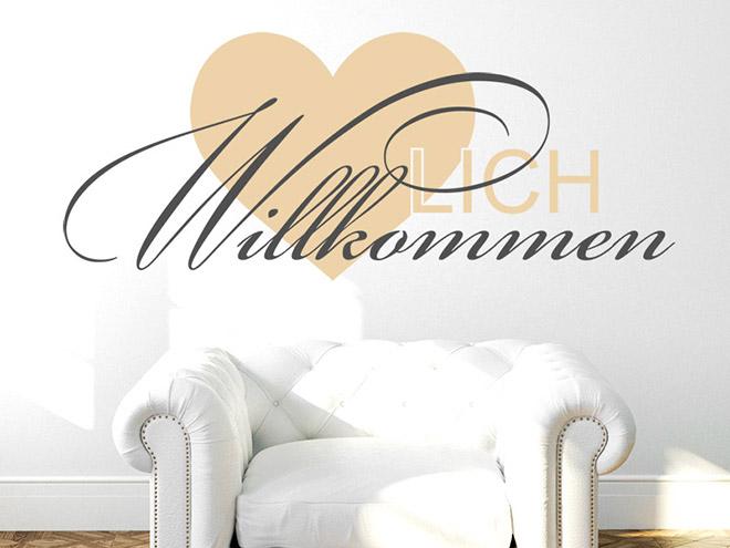 mehrfarbiger schriftzug herz lich willkommen herzlich. Black Bedroom Furniture Sets. Home Design Ideas
