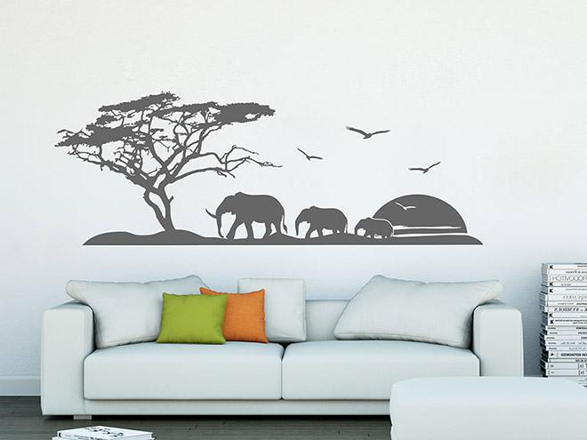 Wandtattoo afrikanische landschaft mit elefanten for Wandtattoo afrika