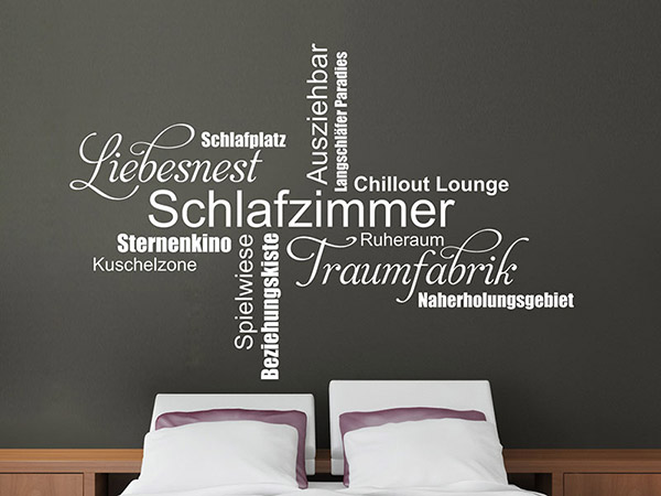 wandtattoo moderne schlafzimmer begriffe. Black Bedroom Furniture Sets. Home Design Ideas