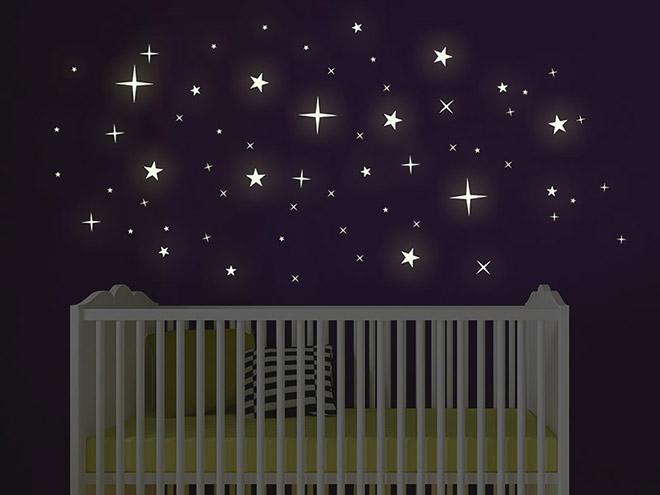 selbstleuchtendes wandtattoo leuchtende sterne leuchtfolie. Black Bedroom Furniture Sets. Home Design Ideas