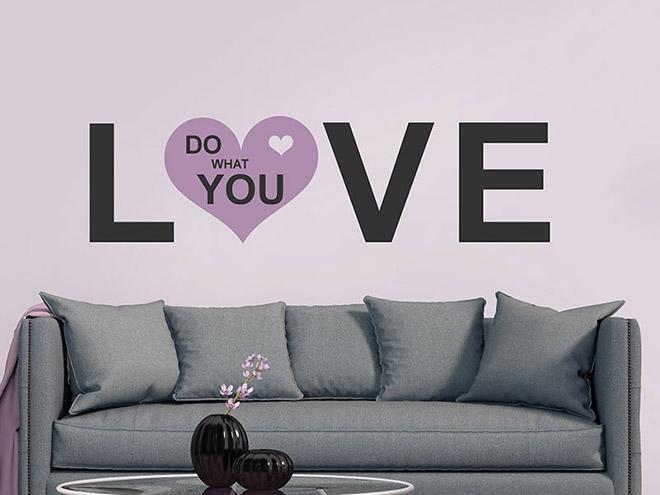 wandtattoo do what you love mit herz von. Black Bedroom Furniture Sets. Home Design Ideas