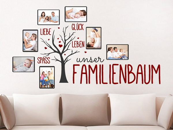 wandtattoo unser familienbaum mit 7 fotorahmen. Black Bedroom Furniture Sets. Home Design Ideas