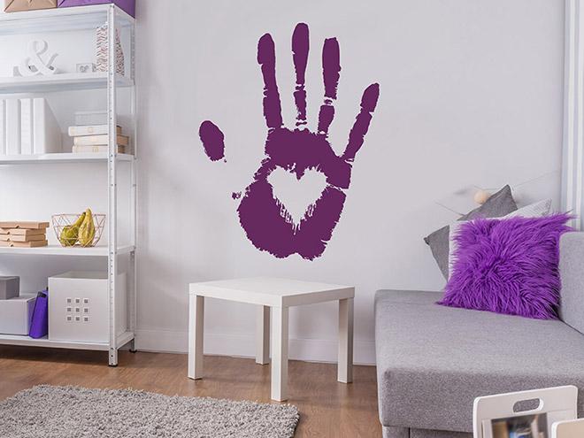 wandtattoo handabdruck mit herz. Black Bedroom Furniture Sets. Home Design Ideas