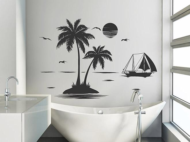 wandtattoo einsame insel mit palmen. Black Bedroom Furniture Sets. Home Design Ideas
