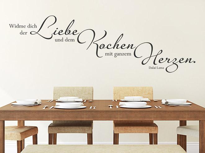 wandtattoo widme dich der liebe und dem kochen. Black Bedroom Furniture Sets. Home Design Ideas