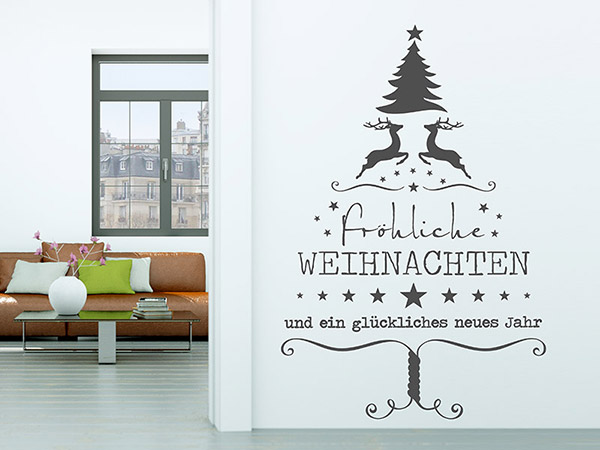 wandtattoo verspielter weihnachtsbaum von. Black Bedroom Furniture Sets. Home Design Ideas