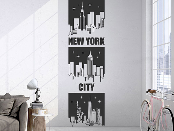wandtattoo wandbanner new york city von. Black Bedroom Furniture Sets. Home Design Ideas