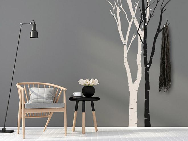 wandtattoo garderobe birken wandgarberobe. Black Bedroom Furniture Sets. Home Design Ideas