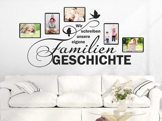 wandtattoo fotorahmen familiengeschichte. Black Bedroom Furniture Sets. Home Design Ideas