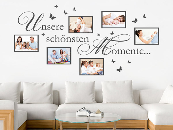 wandtattoo fotorahmen unsere sch nsten momente. Black Bedroom Furniture Sets. Home Design Ideas