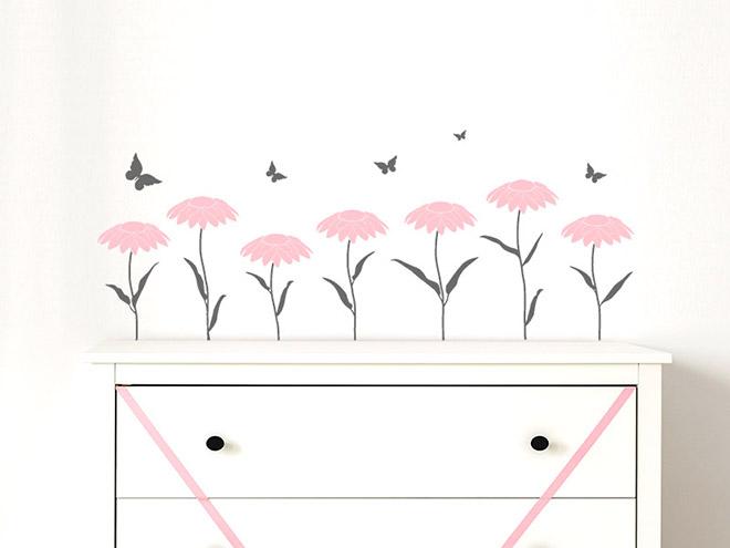 wandtattoo bord re blumen und schmetterlinge. Black Bedroom Furniture Sets. Home Design Ideas