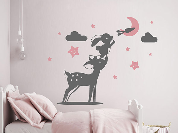 wandtattoo s er hase und reh mit sternen und mond. Black Bedroom Furniture Sets. Home Design Ideas