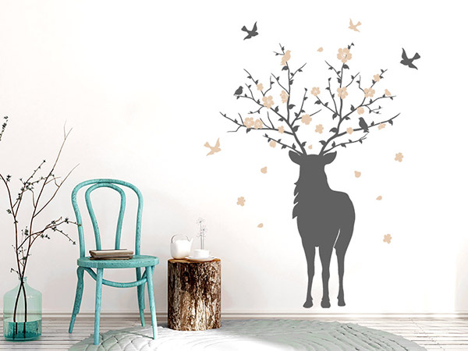 wandtattoo hirsch mit bl ten im geweih. Black Bedroom Furniture Sets. Home Design Ideas