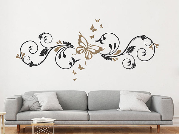 wandtattoo ornament mit schmetterlingen. Black Bedroom Furniture Sets. Home Design Ideas