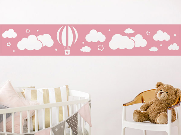 wandtattoo bord re wolken mit hei luftballon. Black Bedroom Furniture Sets. Home Design Ideas