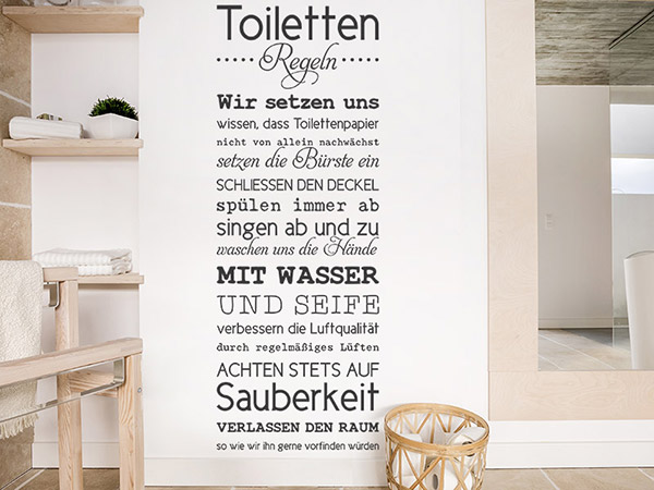 wandtattoo toilettenregeln spruchbanner. Black Bedroom Furniture Sets. Home Design Ideas
