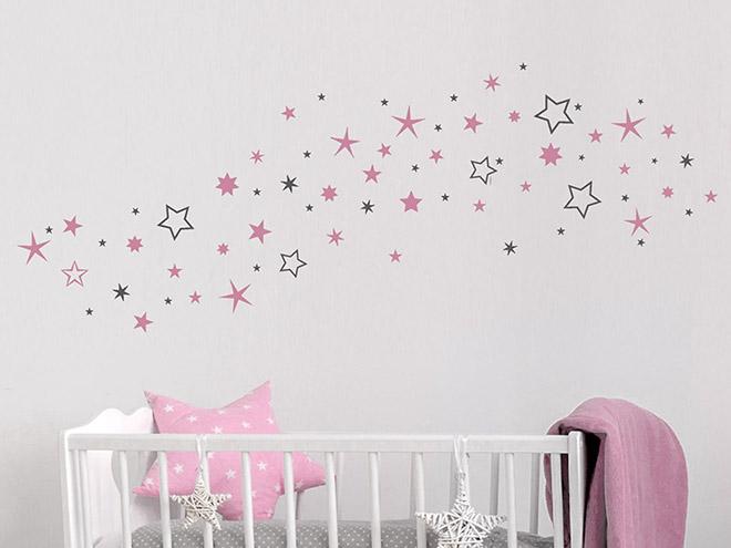 wandtattoo zweifarbige sterne sternenhimmel. Black Bedroom Furniture Sets. Home Design Ideas