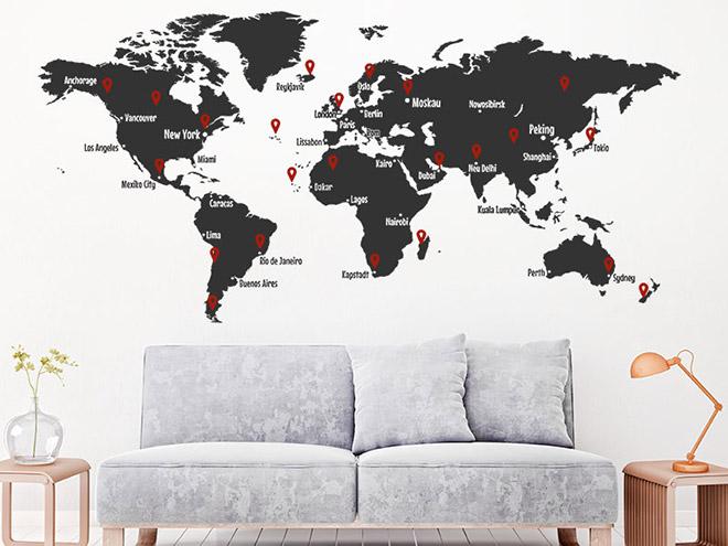 wandtattoo weltkarte mit pins und weltst dten. Black Bedroom Furniture Sets. Home Design Ideas