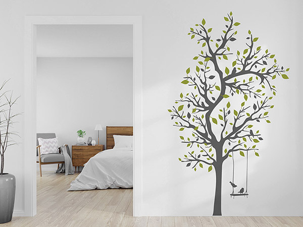 wandtattoo verzweigter baum mit schaukel und v geln. Black Bedroom Furniture Sets. Home Design Ideas