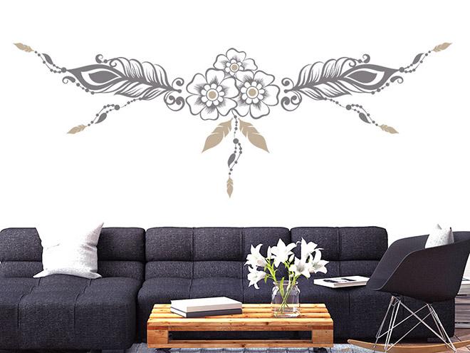 wandtattoo ornament aus federn. Black Bedroom Furniture Sets. Home Design Ideas