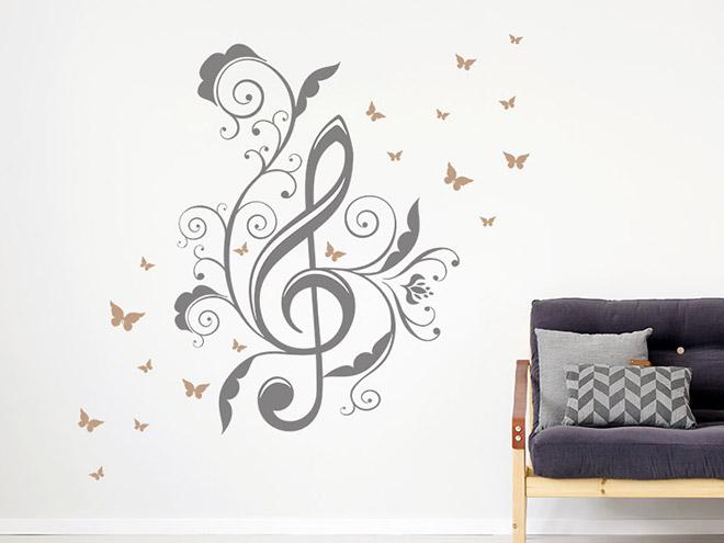 wandtattoo notenschl ssel mit schmetterlingen. Black Bedroom Furniture Sets. Home Design Ideas