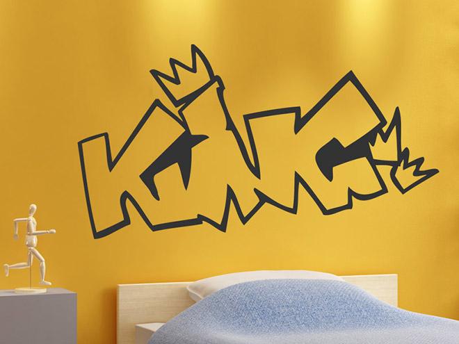 king wandtattoo king k nig held bei. Black Bedroom Furniture Sets. Home Design Ideas
