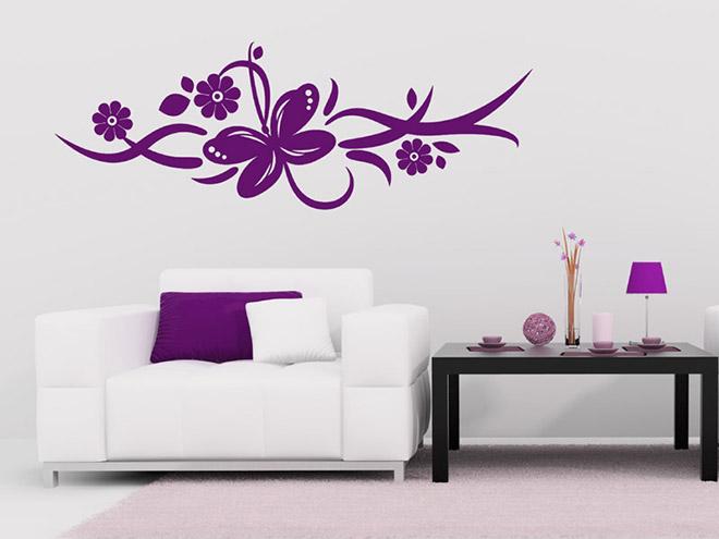 wandtattoo bl tenranke mit schmetterling. Black Bedroom Furniture Sets. Home Design Ideas