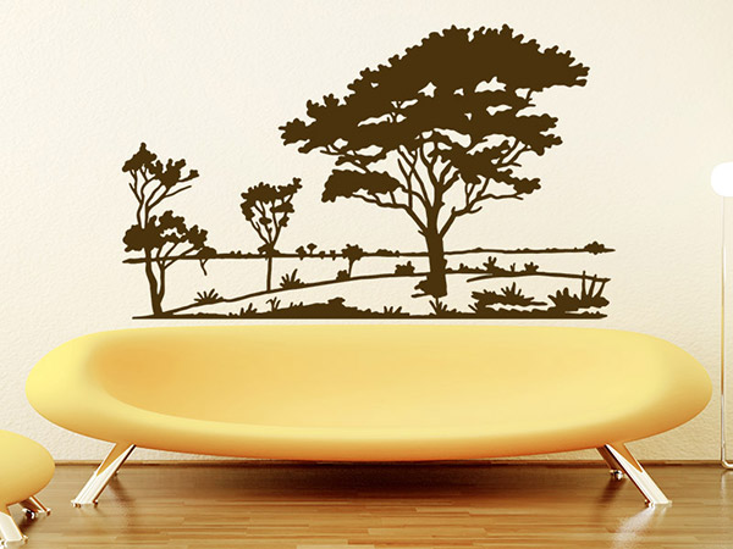 baumlandschaft wandtattoo wald wandsticker bei. Black Bedroom Furniture Sets. Home Design Ideas