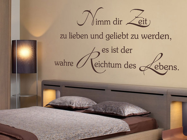 wandtattoo nimm dir zeit zu lieben und geliebt. Black Bedroom Furniture Sets. Home Design Ideas