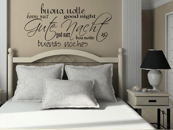wandtattoo gute nacht in 7 sprachen. Black Bedroom Furniture Sets. Home Design Ideas