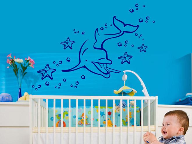 delphin wandtattoo delphin seestern meer bei. Black Bedroom Furniture Sets. Home Design Ideas