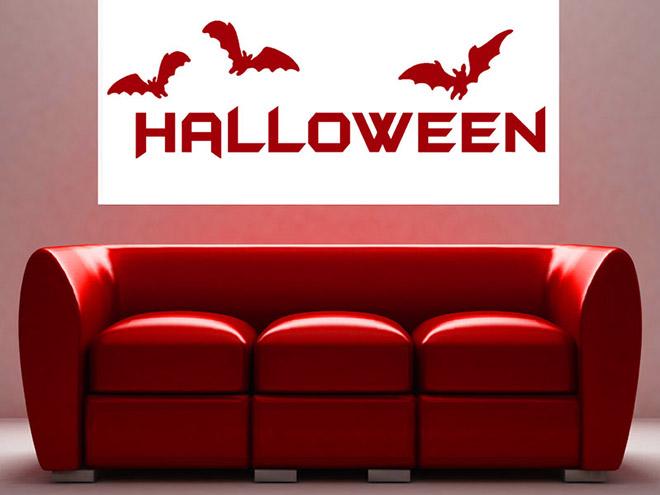 wandtattoo halloween schriftzug. Black Bedroom Furniture Sets. Home Design Ideas