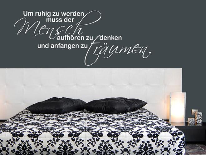 wandspruch traum um ruhig zu werden wandtattoo bei. Black Bedroom Furniture Sets. Home Design Ideas