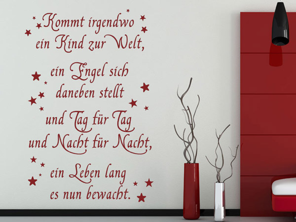 wandtattoo kommt irgendwo ein kind babyspruch. Black Bedroom Furniture Sets. Home Design Ideas