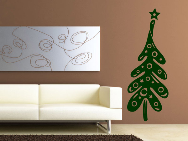 wandtattoo lustiger weihnachtsbaum mit stern. Black Bedroom Furniture Sets. Home Design Ideas